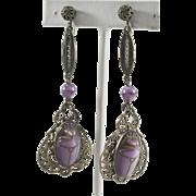 Czech Egyptian Revival Long Molded Glass Scarab Dangle Earrings