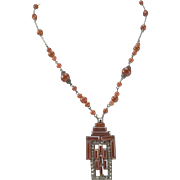 Art Deco Czech Orange Carnelian Glass & Marcasite Necklace