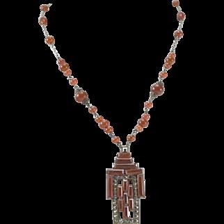 Art Deco Czech Orange Carnelian Glass & Marcasite Necklace