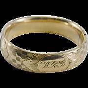 Victorian Gold Filled Hinged Bangle Bracelet Monogrammed W.R.B.