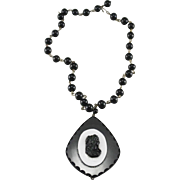 Black & Milk Glass Silhouette Pendant on Black Glass Bead Choker