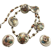 Satsuma Buttons Seven Gods of Good Fortune Necklace