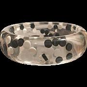 Lucite Black & White Polka Dot Plastic Bangle