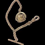 Gold Filled Vest Pocket Watch Chain Bracelet with Rotating Barrel Fob