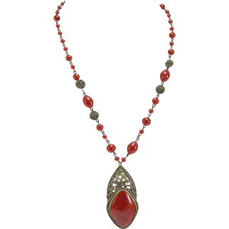 Red Czech Glass & Brass Necklace