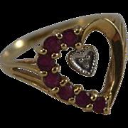 10K Yellow Gold Ruby & Diamond Heart Ring