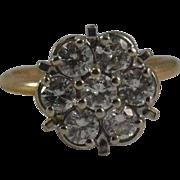 14K Yellow Gold & Platinum Diamond Cluster Ring