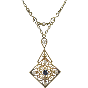 Edwardian Sapphire & Pearl 14K Yellow Gold Lavaliere