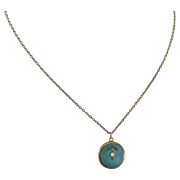 10K Gold Guilloche Enamel Baby Necklace