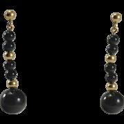 14K Black Onyx Dangle Bead Earrings
