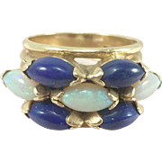 14K Gold Ring with 3 Opals and 4 Lapis Lazuli Size 6.5