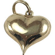 14K Gold Puffy Heart Charm