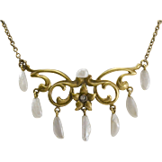14K Gold Art Nouveau Natural Pearl & Diamond Necklace