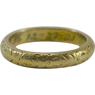 18K Green Gold Band/Ring with Etched Design Size 4 1/4