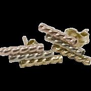 14K Tricolor Rope Twist Earrings