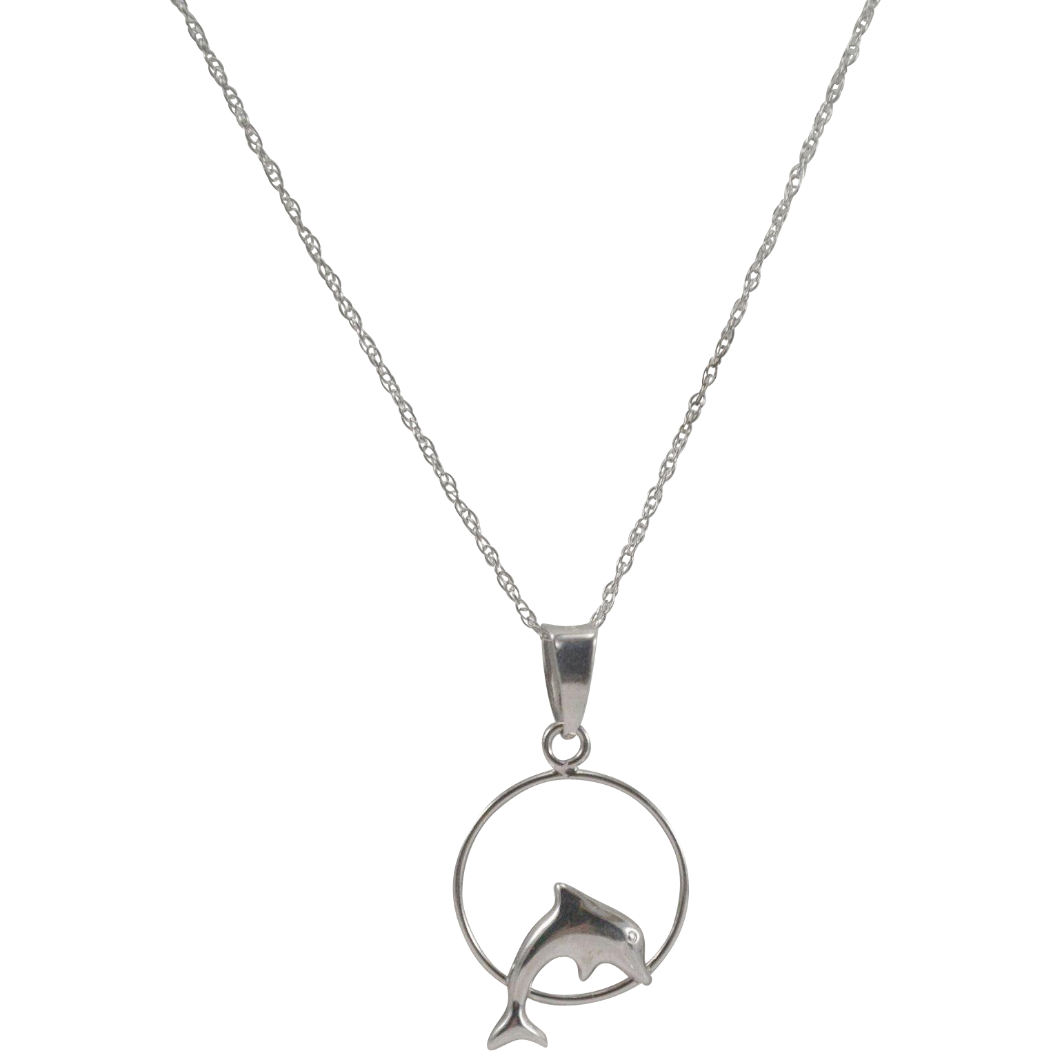 10k white gold dolphin pendant and chain from