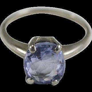 Violet Purple Sapphire 14K White Gold Solitaire/Engagement Ring Sz 6.5