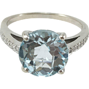 Light Blue Topaz 18K White Gold Ring with Diamonds Sz 8.25