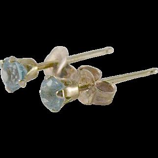 10K Yellow Gold Blue Stone Stud Earrings
