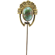 14K YG Egyptian Revival Turquoise Stick/Hat Pin
