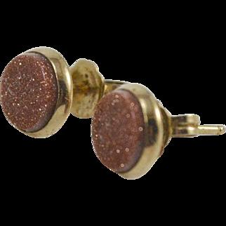 14K YG Goldstone Stud Earrings