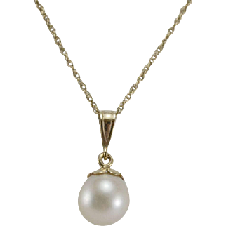 8.5mm Cultured Pearl Pendant with 14K YG Chain