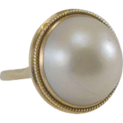 14K YG 17mm Mabe Pearl Ring Size 7 1/4