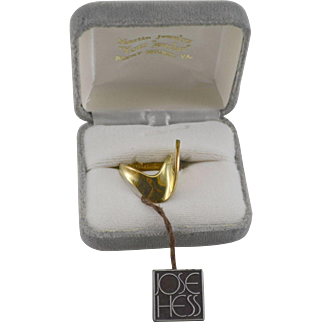 Jose Hess 14K YG Abstract Ring Size 7 3/4