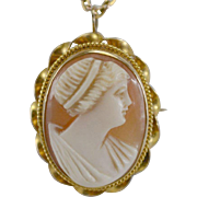 10K YG Shell Carved Cameo Brooch/Pendant