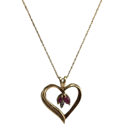 "10K YG Heart Pendant with Rubies and Diamonds on 18"" Chain"