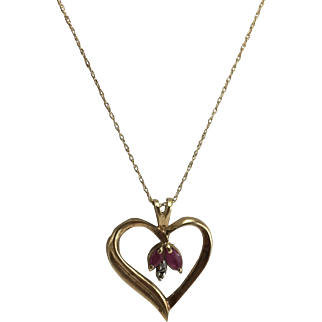 """10K YG Heart Pendant with Rubies and Diamonds on 18"""" Chain"""
