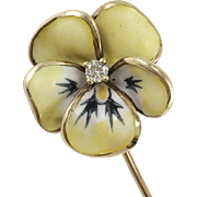 14K YG Enamel & Diamond Pansy Stick Pin