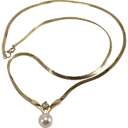 14K YG Necklace with Cultured Pearl & Diamond