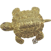 18K YG Turtle Pin/Brooch with Diamond