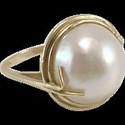 10K YG Mabe Pearl Ring Size 9