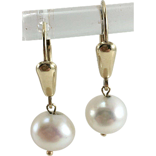 14K Cultured Pearl Lever Back Drop  Earrings