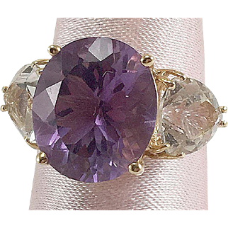 14K Yellow Gold Ring with Purple & Clear Stones