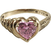 10K Yellow Gold Pink Ice Heart Ring Size 5 3/4
