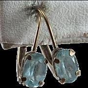 10K YG Blue Topaz Lever Back Earrings