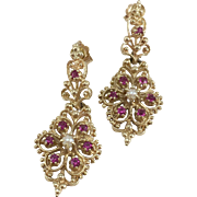 14K Yellow Gold Ruby & Pearl Filigree Earrings