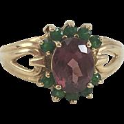 10K YG Garnet & Green Stone Ring Sz 8.5