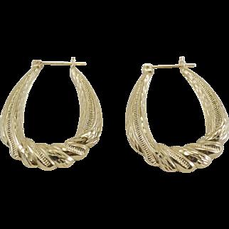 14K YG Large Puffy Hoop Earrings
