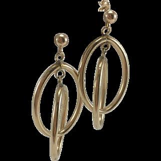 14K Double Oval Hoop Drop Earrings