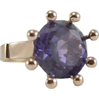 18K Egyptian Gold Synthetic Color Change Sapphire Ring Size 7 3/4