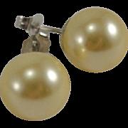 14K White Gold 10mm Faux Pearl Earrings