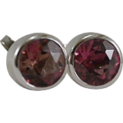 14K White Gold Pink Tourmaline Stud Earrings