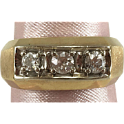 Men's, Lady's 14K YG 3 Stone Diamond Band 0.43 Ct TW Sz 9