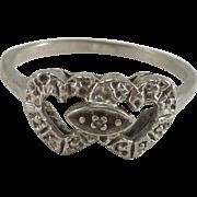 10K White Gold Double Heart Ring Sz 7.5