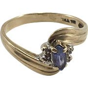 10K Tanzanite & Diamond Ring Sz 6.5