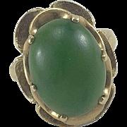 Large 10K Yellow Gold Jade Ring Sz 6.5